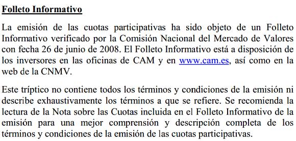 Fragmento del tríptico del folleto de emisión de cuotas CAM