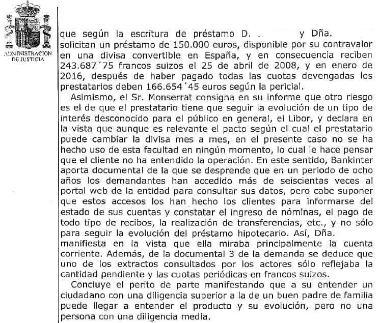 Mención al perito Pau A. Monserrat en juicio por hipoteca multidivisa