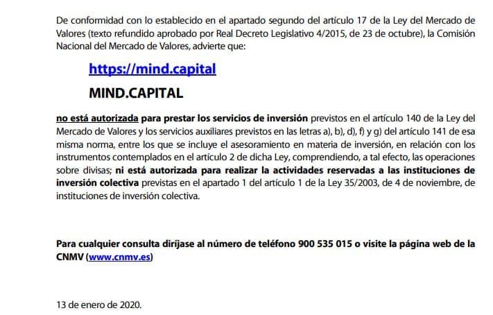 Mind Capital: alerta de la CNMV