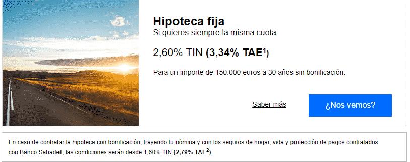 Hipoteca del Banco de Sabadell al 100%